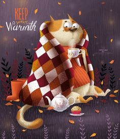 Keep your warmth on Behance Character Art, Character Design, Illustration Artists, Autumn Illustration, Cat Drawing, Cat Art, Cats And Kittens, Illustrators, Graphic Art