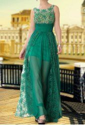 $217.70 Charming Scoop Neck Beading Sequins Embroidery Women's See-Through Floor Length Chiffon Evening Dress