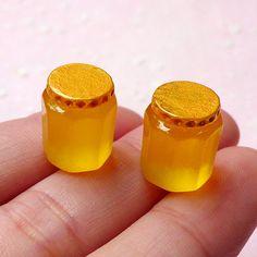 Miniature Honey Jam Bottle Cabochons (2pcs / 10mm x 13mm) 3D Dollhouse Jam Making Doll Food Making Breakfast Fake Food Jewellery FCAB237