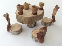 Every fairy house and fairy garden or gnome garden needs this beautiful tea party set.  This eco friendly, miniature table set made from natural