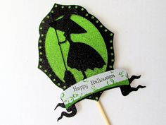 Witch Silhouette Halloween Cake Topper by GypsiesCraftsTreats