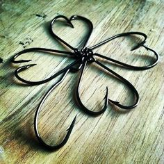 Four leaf clover make from fishing hooks
