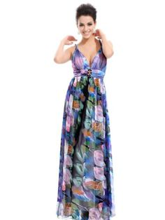 Amazon.com: Ever Pretty V-neck Rhinestone Printed Gorgeous Feminine Long Evening Dresses 09324: Clothing