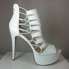 White pump heels with Peep toe Strappy style #cutesyoriginals