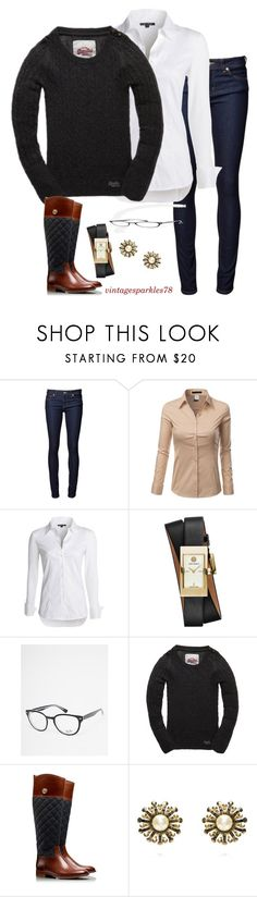 """""""Cozy"""" by vintagesparkles78 ❤ liked on Polyvore featuring Naked & Famous, Doublju, NIC+ZOE, Tory Burch, Ray-Ban and Superdry"""