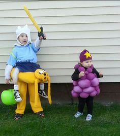 My children's Adventure Time homemade halloween costume this past year! Jake/Finn for my son and my daughter was LSP.
