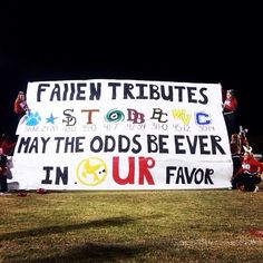 Our school's football run through sign- Hunger Games theme! Football Game Signs, High School Football Games, High School Cheer, Football Cheer, Football Posters, Football Season, Football Spirit Signs, Football Moms, Sports Signs