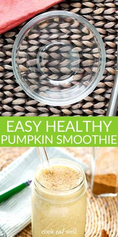 This easy Healthy Pumpkin Smoothie recipe is creamy, sweet and delicious without dairy or added sugar. A perfect quick and healthy paleo breakfast smoothie that celebrates the fall flavors of pumpkin pie and pumpkin spice! AIP, Dairy Free, Gluten Free, Paleo, and Vegan. Breakfast Smoothies, Paleo Breakfast, Healthy Smoothies, Smoothie Recipes, Easy Healthy Recipes, Real Food Recipes, Pumpkin Shake, Pumpkin Smoothie, Healthy Pumpkin