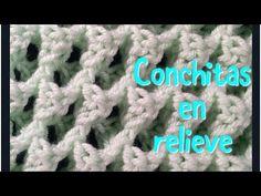 Conchitas en relieve en un solo color para manta de bebe en gancho #47