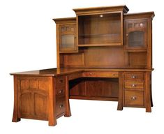 Amish Bridgeport Mission Corner Desk with Optional Topper What will your new Bridgeport look like? Amish made means you choose wood, finish, hardware, position of return, hutch, grommets, cord holes and more.