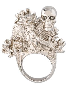 Alexander McQueen Skull and Cherry Blossom Ring - Jewelry - ALE22294 | The RealReal