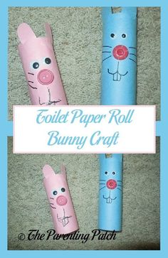 Still need a craft idea for Easter? Try making some adorable and festive bunnies from toilet paper rolls, construction paper, wiggle eyes, and buttons. via @ParentingPatch