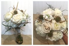 A stunning bridal bouquet with roses, hydrangea. wheat, bear grass loops, and twine.  T&V Floral