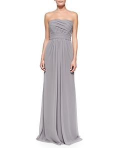 Strapless Draped Ruched-Bodice Gown, Slate by Monique Lhuillier Bridesmaids at Neiman Marcus.