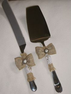 Rustic Wedding Cake and Knife Server Set by DesignsByCris on Etsy, $47.00