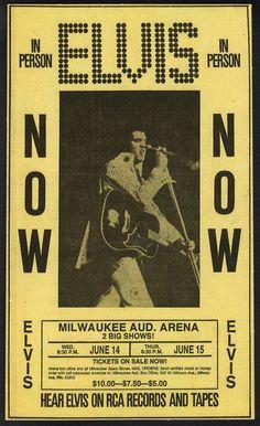 1972 Elvis Presley newspaper ad, Milwaukee Auditorium Arena concert