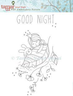 Digital embroidery designs, Digital artwork - Good Night - Embroidery pattern…