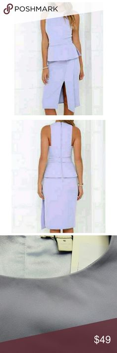 """Keepsake for C/MEO Collective Dress Beautiful lilac peplum dress. Keepsake is an Australian brand that makes clothing for C/MEO Collective. Interesting cut around shoulders, side slit, back zipper. This dress will go from the office to a dinner date, it is so versatile, the possibilities are endless! Fully lined, has some stretch.   Size S, fits 4-6 Waist 26"""" Hips 36"""" Material 95% polyester, 5% elastine Keepsake Dresses Midi"""
