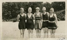 1928 Five Women Bathing Suit Ladies Affectionate Group