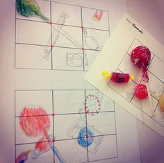 thumbnail sketching stage with candy on card stock grid  Wayne thiebaud candy compositions