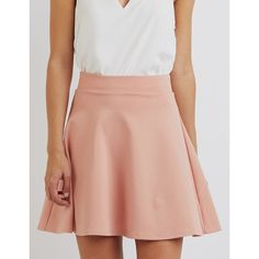 Charlotte Russe Ponte Knit Skater Skirt ($17) ❤ liked on Polyvore featuring skirts, pale mauve, flared skater skirt, knee length flared skirts, circle skirt, high-waisted skirts and ponte skirt