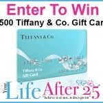 Today is the LAST day to Enter To Win A $500 Tiffany & Co. Gift Card From @Your Life After 25 Da Vinci 09/01-09/30