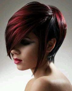 Asymmetric dark cherry red bob