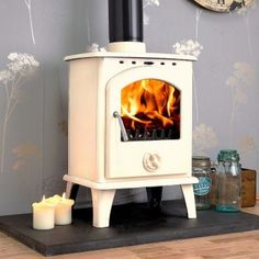 Blanco 8kw white enamel wood burning stove