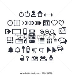 Pixel art contour, black and white 8-bit icons for website or mobile user interface - Shutterstock Premier
