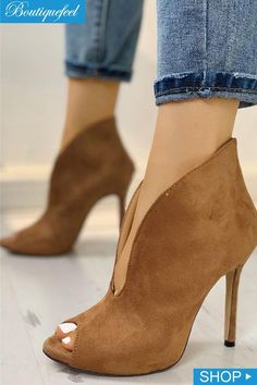 Peep Toe V-Shape Cut Out Ankle Boots  yogaposesideas Bootie Boots 37d33268267c