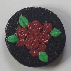 Polymer Clay Red Blossoms Fridge Magnet