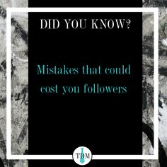 1. Not engaging with followers  2. Not utilizing the correct hashtags 3. Not having a branded profile picture  #TYDIVERSMARKETING #DIDYOUKNOW #DFW #BRANDING #MARKETING #CREATIVEMARKETING #MARKETINGAGENCY #BRANDINGAGENCY #BUSINESSTIPS Branding Agency, Hashtags, Business Tips, Did You Know, Profile, Marketing, User Profile, Fans