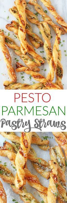 Pesto Parmesan Pastry Straws make a super easy snack or party appetizer for the festive season!