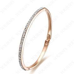 Fashion 18K Rose Gold Plated Plated Bangle Clean Swarovski Crystal Bracelet B012R1