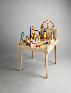 Tavolino: wood folding table and 90 learning/play set
