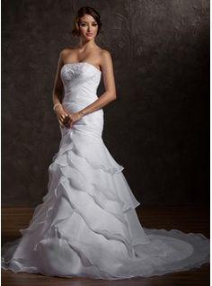 Wedding Dresses - $221.99 - Trumpet/Mermaid Strapless Court Train Organza Wedding Dress With Ruffle Beading Sequins  http://www.dressfirst.com/Trumpet-Mermaid-Strapless-Court-Train-Organza-Wedding-Dress-With-Ruffle-Beading-Sequins-002012721-g12721
