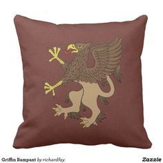 Griffin Rampant Throw Pillow.  40% Off Pillows  USE CODE: NOZTIMETONAP  Offer is valid through June 20, 2017, 11:59 PM PT.  #Zazzle #outdoor_pillow #throw_pillow #square_pillow #pillow #griffin #griffin_rampant #heraldic_griffin #gryphon