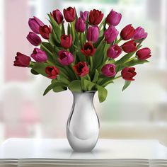 """Pink and red tulips mean """"perfect love"""" today; send her your love with """"Sweet Surrender Bouquet"""" Send Flowers, Love Flowers, Fresh Flowers, Spring Flowers, Valentines Day Poems, Valentines Flowers, Beautiful Flowers Images, Flower Images, Vases"""