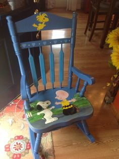 Hand painted Snoopy and Charlie Brown chair, with Woodstock