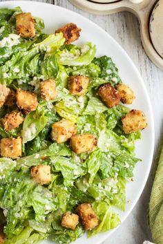 Wasabi Caesar Salad with Crunchy Sesame-Tofu Croutons via veggiechick.com #vegan