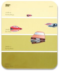 """390D - Flood Cars: : Shawn Huckins' painting """"The Paint Chip Series"""""""