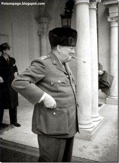 Winston Churchill at the entrance of the Livadia Palace during the Yalta Conference in 1945.