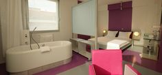 Technocorner room devoted to image and sound like a private auditorium. The widescreen can be viewed from the comfort of the bed or the #bath, with the television acting as a folding screen between the room and the bathroom. To book Hi-studio technocorner room: https://ns.hibookings.fr/home/?lng=english  #hotel #design