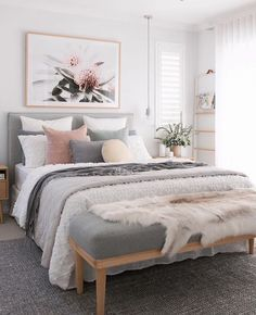 67 Great Ideas For Cozy Bedroom Decor 21 - myhomeorganic Neutral Bedroom Decor, Room Ideas Bedroom, Home Decor Bedroom, Adult Bedroom Ideas, Feminine Bedroom, Cozy Master Bedroom Ideas, Bedroom Ideas For Women, Bedroom With White Walls, Gray Bedroom Furniture