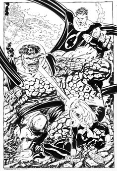 John Byrne Draws...Fantastic Four Vs Hulk commission by John Byrne. 2010.