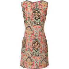 Paisley Print Pink Dress ❤ liked on Polyvore