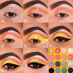 how to do eyeshadow - Eyeshadow Tutorial Eye Makeup Steps, Makeup Eye Looks, Eye Makeup Art, Skin Makeup, Eyeshadow Makeup, Makeup Tips, Beauty Makeup, Yellow Makeup, Colorful Eye Makeup
