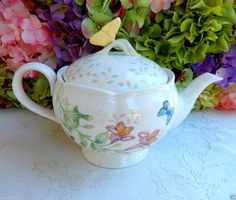 Beautiful Lenox Porcelain Teapot Butterfly Meadow ~ Insects ~ Floral #Lenox