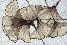 very similar to what I am thinking for the leaves Motif Floral, Arte Pop, Art Graphique, Leaf Art, String Art, Textures Patterns, Printmaking, Art Drawings, Illustration Art
