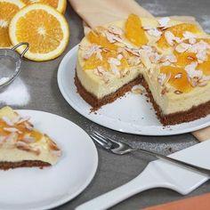 Sinaasappel cheesecake met kruidnotenbodem! Su-per lekker✨ Het (simpele) recept staat nu online EEFSFOOD.NL #eefsfood #sinaasappel #cheesecake #amandelschaafsel #recept #taart #heelhollandbakt